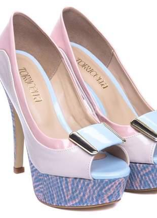 Sapato meia pata  verniz rose e verniz bege;
