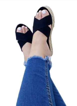 Sandália Tamanco Feminino preta rasteira cruzada flatform sola alta