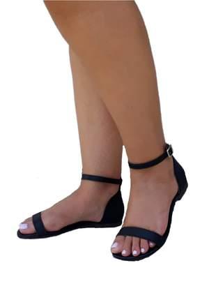 Sandália feminina rasteirinha flat preta fosca rasteira