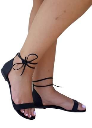 Sandália feminina flat amarração preta