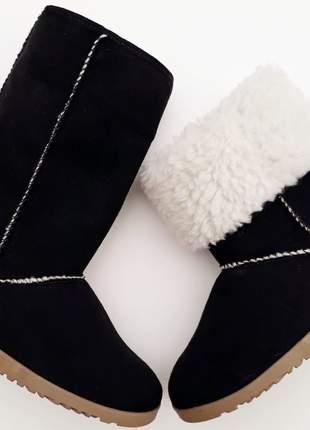 Bota feminina esquimó preta pelo toda forrada em lã pelo pelinhos