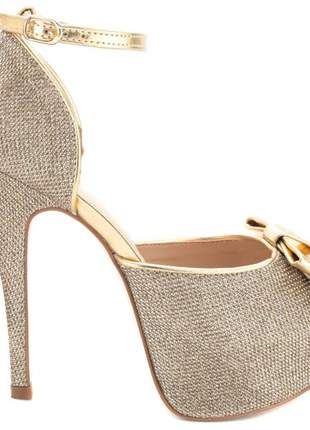 Sandália meia pata  glitter ouro e metalizado ouro