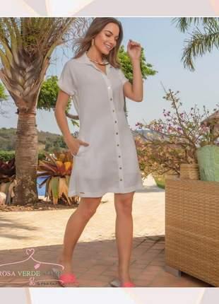 Vestido chemise viscolinho off white tricomix