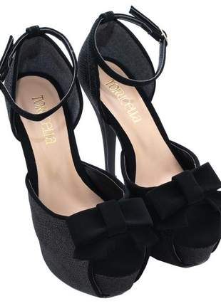 Sandália meia pata  glitter preto e camurça preto