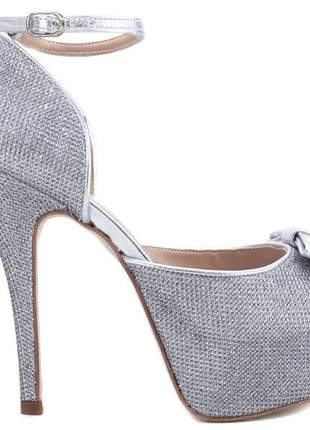 Sandália meia pata  glitter prata e metalizado prata