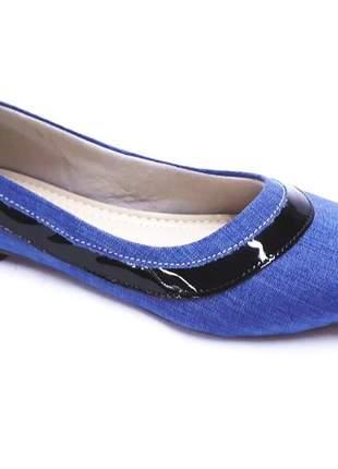 Sapatilha bico fino tecido oxford indy blue #blackfriday - delicata calçados
