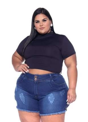 Shorts jeans plus size 2 botões