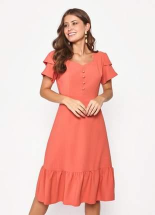 Vestido liso com botão liso manga curta pêssego -  06061
