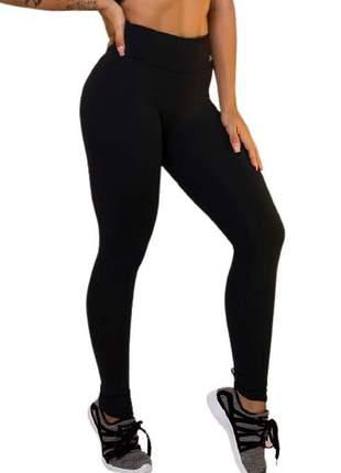 Calça legging feminina suplex preta dia a dia e academia