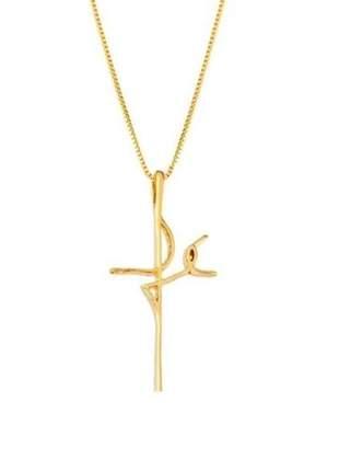Corrente colar com pingente fé banhado ouro - semi joias