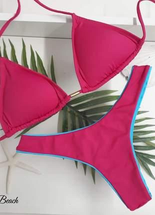 Biquini asa delta - pink e azul