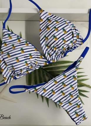 Biquini fininha dupla-face - abacaxi e azul