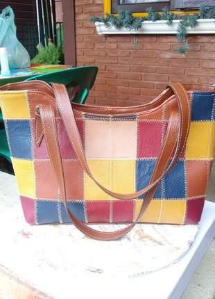 Bolsa couro legítimo retalhos coloridos grande + repartição