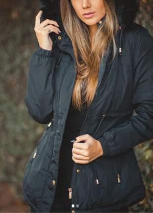 Parka feminina forrada em sarja pelúcia jaqueta de frio tendencia ano
