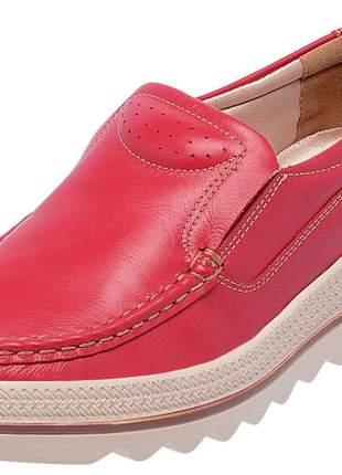 Mocassim feminino em couro legítimo 3601 vermelho
