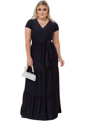 Vestido preto longo moda festa senhoras manguinha casamento bodas aniver formatura