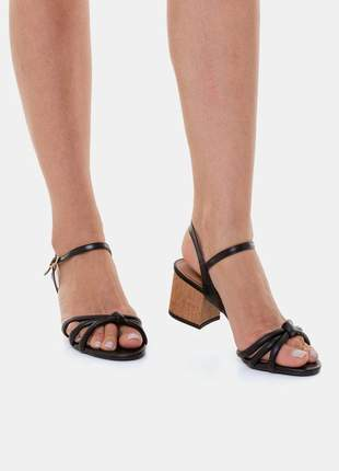 Sandália salto bloco médido almofadada preta pitteli