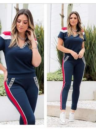 Conjunto feminino de blusa e calça em malha de linho azul marinho
