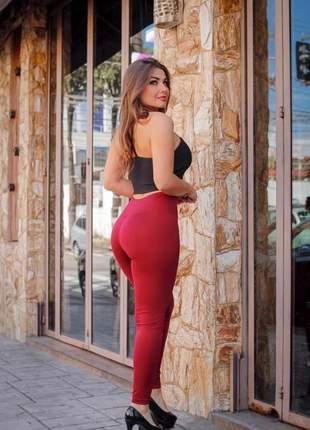 Calça leg fitness lisa feminina suplex cós alto legging
