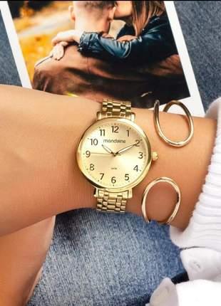 Relógio feminino mondaine dourado 2021