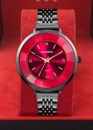 Relógio feminino mondaine preto luxo