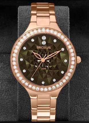 Relógio feminino seculus 2 anos de garantia 48085lpsvrs3