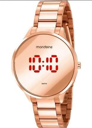 Relógio feminino mondaine rose digital led