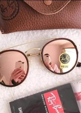 Óculos de sol double bridge 3647 rosa espelhado feminino