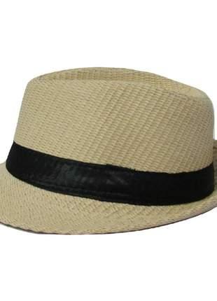 Chapéu feminino bege com faixa preta