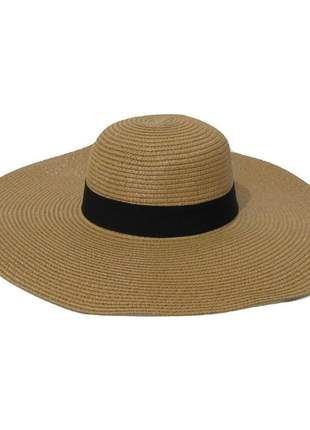 Chapéu de praia feminino caramelo com faixa preta