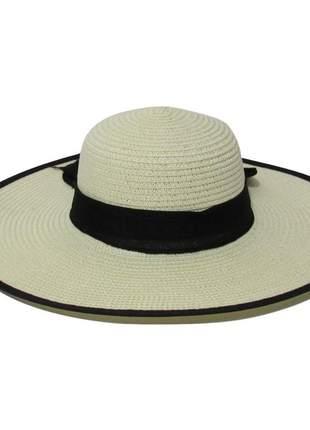 Chapéu de praia feminino marfim com faixa preta