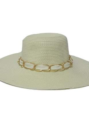 Chapéu de praia feminino branco com faixa corrente dourada
