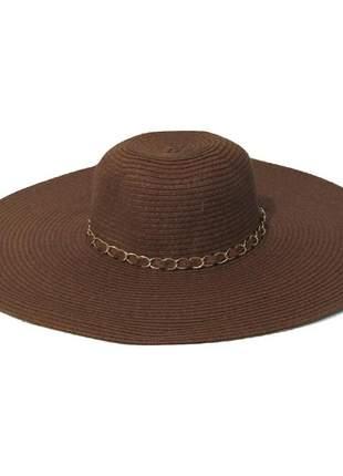 Chapéu de praia feminino marrom com faixa corrente dourada