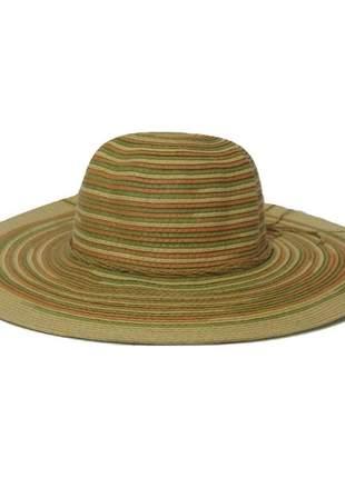 Chapéu de praia feminino bege com listras