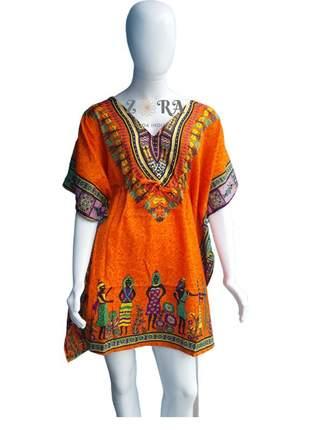 Vestido kaftan indiano saída de praia longuete plus size