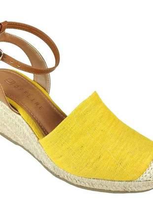 Sandália anabela offline salto corda amarela
