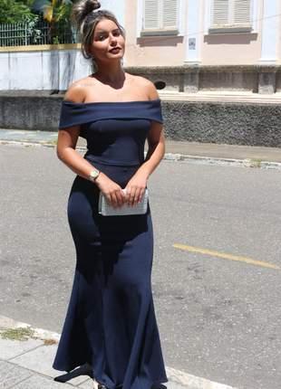 Vestido azul marinho ombro ciganinha de festa longo madrinha casamento convidada aniver