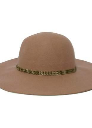 Chapéu feminino floppy rose com corrente dourada