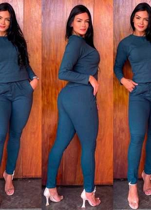 Conjunto feminino blusa e calça inverno