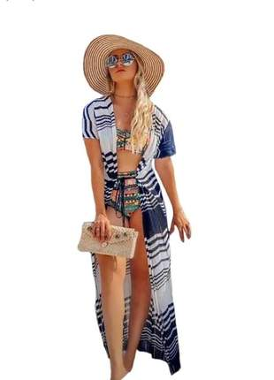 Saída de praia longa kimono tricot verão zig zag verão luxo