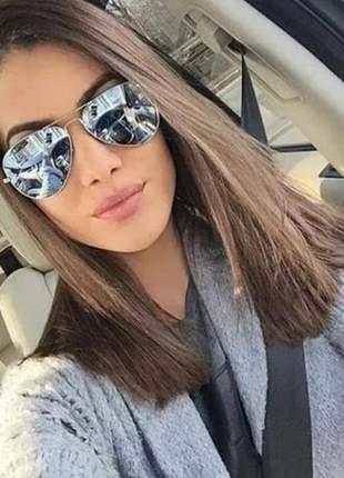 Óculos escuro feminino lindo aviador espelhado blogueira