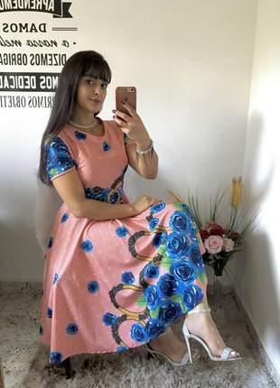 Vestido midi gode rodado moda evangélica cristã social