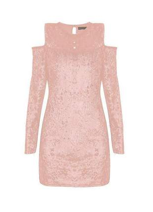 Vestido manga longa veludo molhado rosa