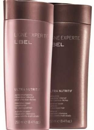 Kit com shampoo e condicionador reparador de cabelos danificados l bel