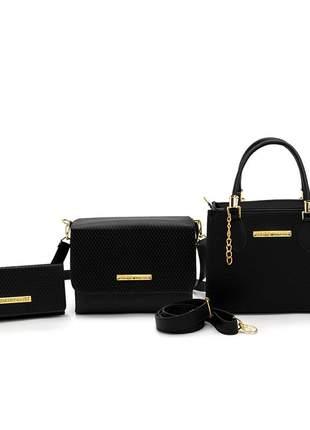 Kit 3 bolsas femininas castelo lorena bau +carteira caninana preto