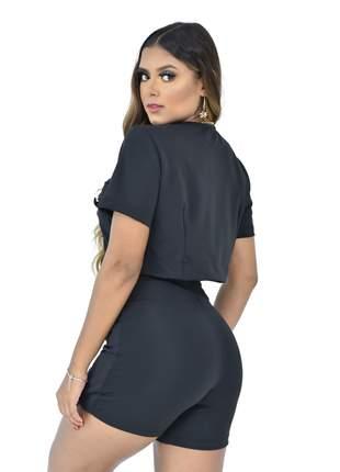 Short saia tecido montaria com cinto