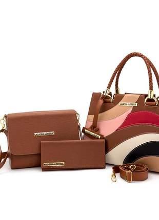 Kit bolsa castelo caramelo detalhes colorida +bolsa bau + carteira