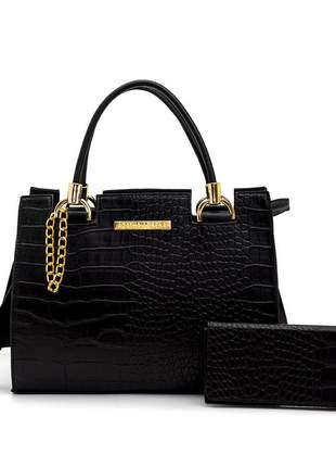 Kit bolsa castelo feminina em croco preto e carteira