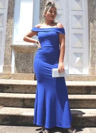 Vestido longo azul ombro a ombro de festa madrinha casamento bojo convidadas aniver