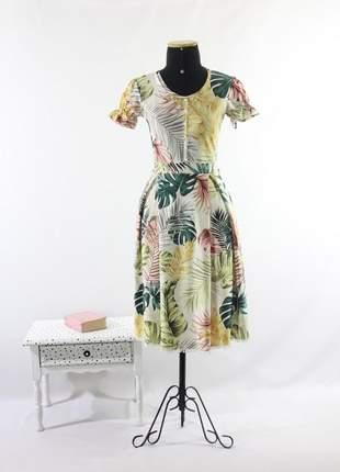 Vestido feminino midi malha rodado estampado moda evangelica